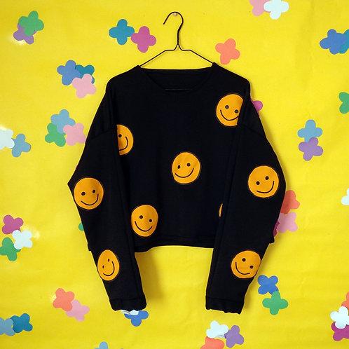 Smiley Face Patch Crew-Neck Drop-Shoulder Sweatshirt