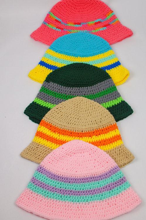 Striped Crocheted Bucket Hats