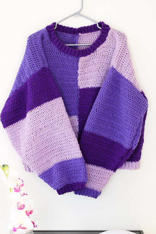Purple Color-Blocked Sweater