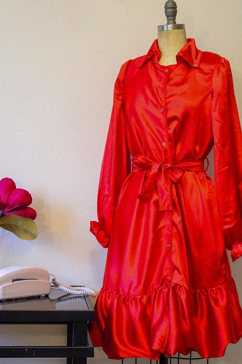 """Crimson"" Satin Shirt Dress"