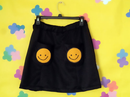 A-Line Skirt With Smiley Face Patch Pockets
