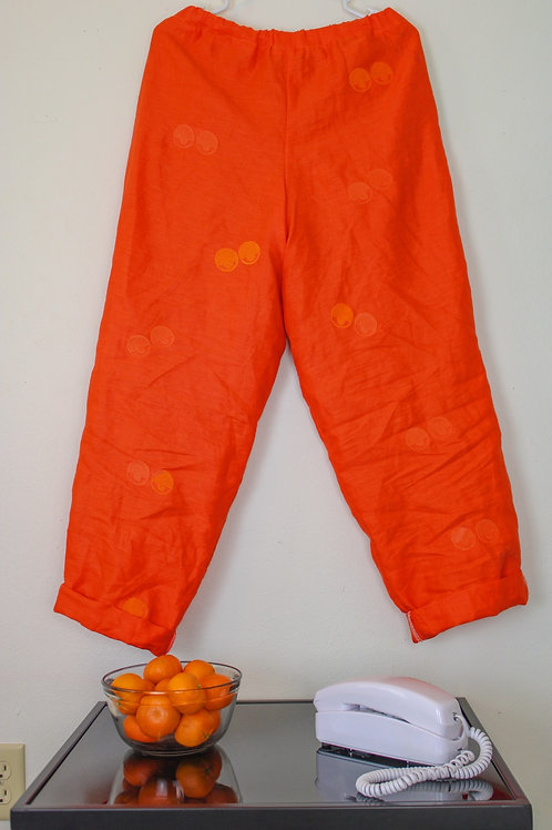 """Orange You Glad To See Me?"" Embroidered Linen Pants"