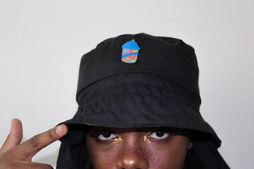 Reversible Tie-Dyed Bucket Hat with Slushy Patch