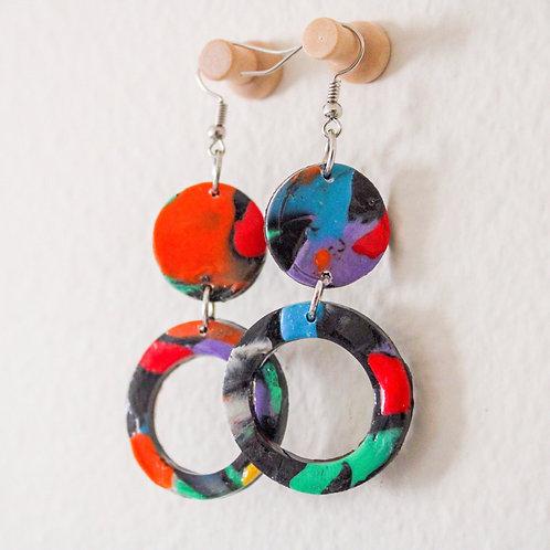 Rainbow Marble Earrings