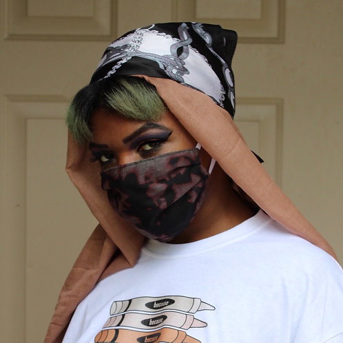 Bleached Tie-Dyed Face Mask