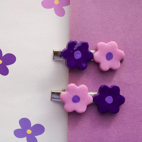 Purple Flower Hair-Clips (2-Pack)