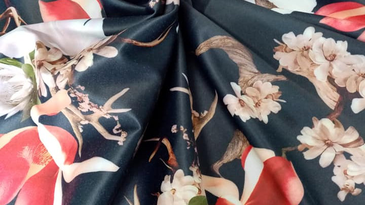 Navy Stretch Floral Sateen