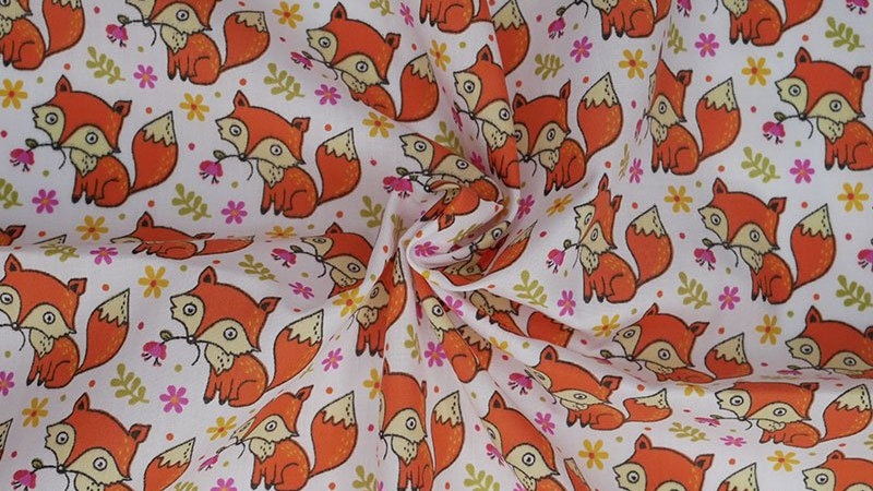 Cute Baby Foxes Polycotton