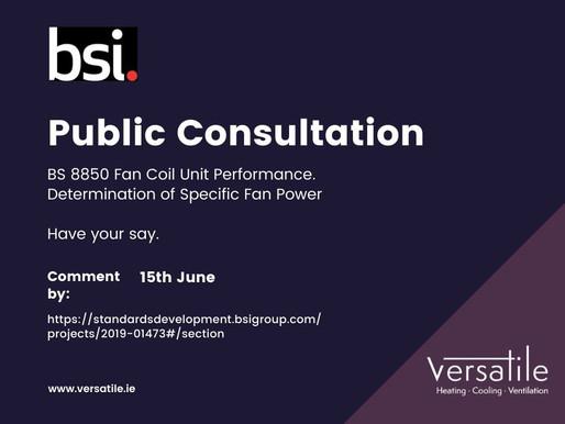 BSI Public Consultation: BS 8850 Fan Coil Unit SFP