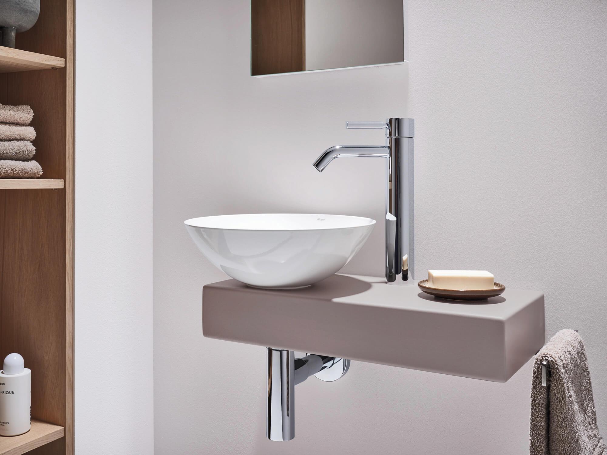 Piccolo Novo Basin Bowl & Shelf in Small Bathroom