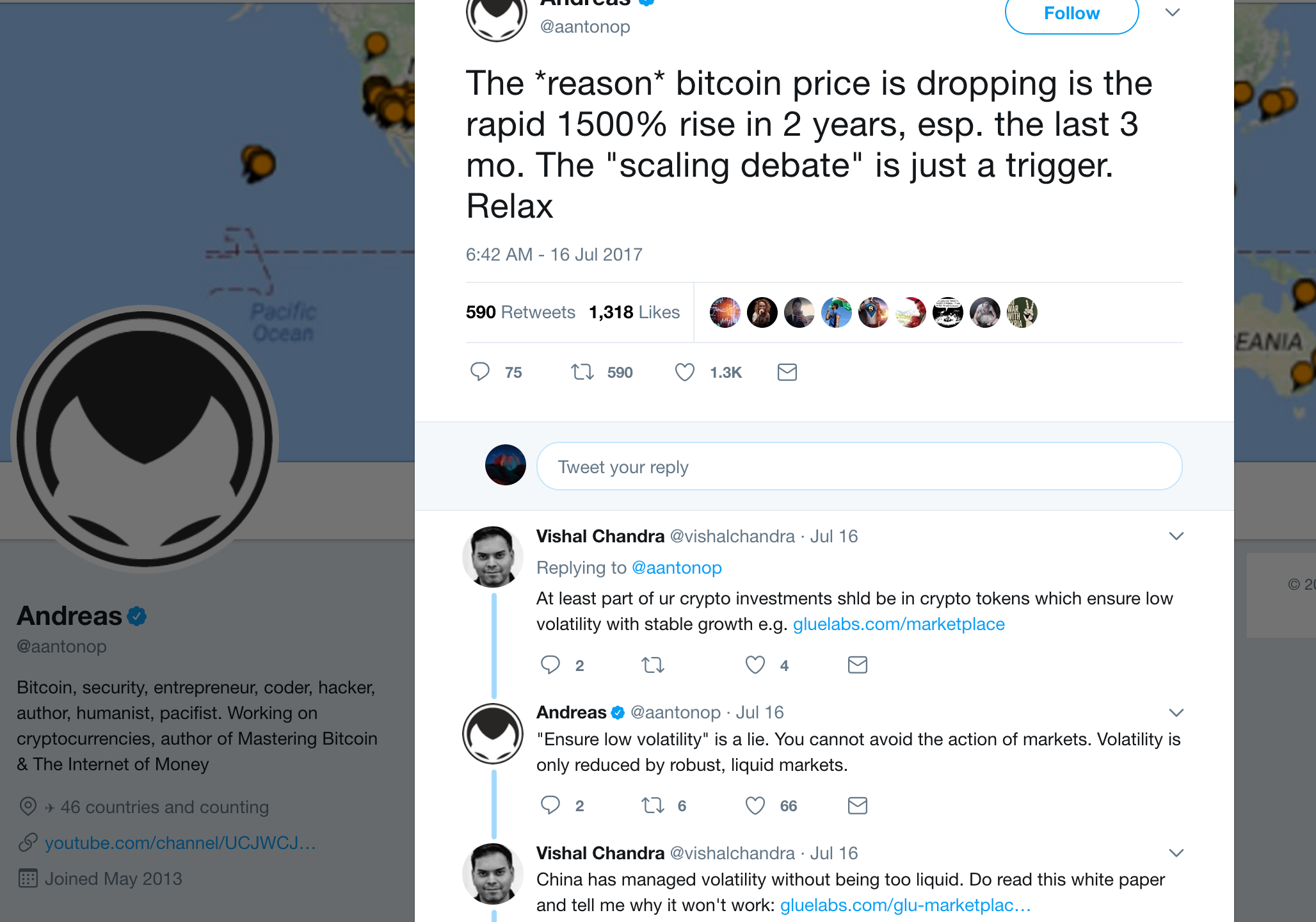 """""""The *reason* bitcoin price is dropping is the rapid 1500 rise in 2 years, esp. the last 3 mo. The """"scaling debate"""" is just a trigger. Relax"""""""