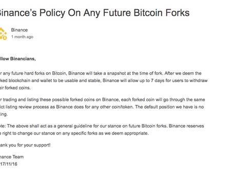 Bitcoin SegWit2X Hard Fork this December 28th - We will Keep Ours on Binance