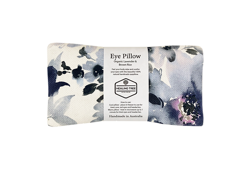 Organic Lavender & Brown Rice Eye Pillow -Floral Blue