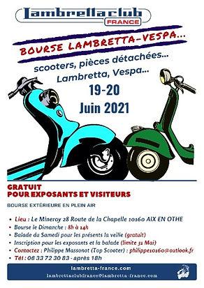 Bourse Lambretta Vespa 19 et 20 Juin 2021 Aix en othe lambretta club france