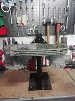 support moteur avec moteur lambretta li ouvert en position horizontale