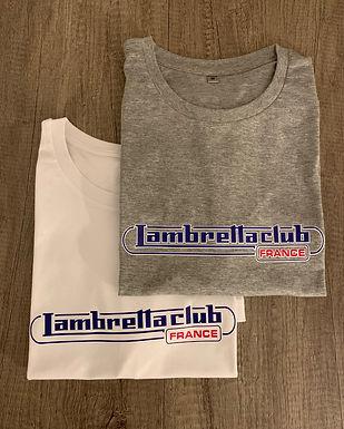 tee shirt avec logo lambretta club france blanc et gris