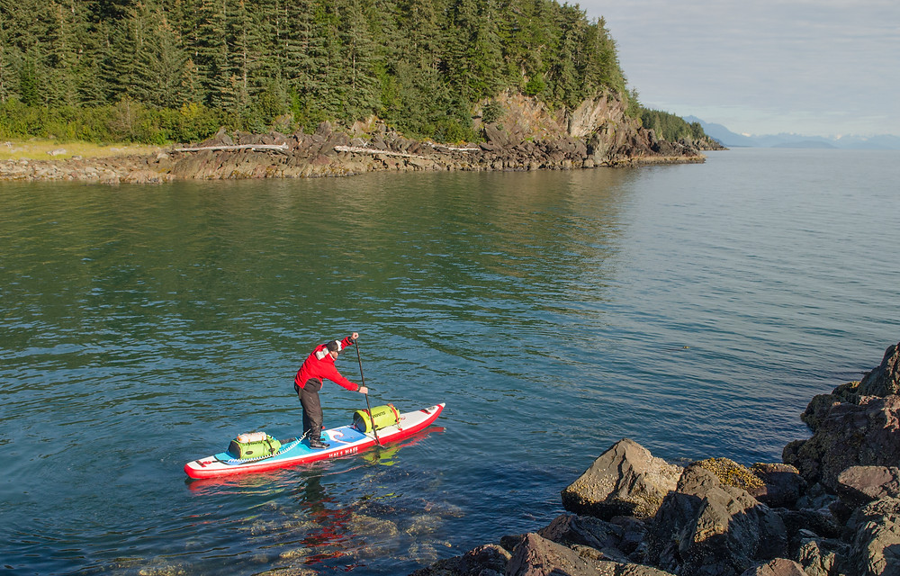 Paddle boarding between Juneau and Haines on Lynn Canal
