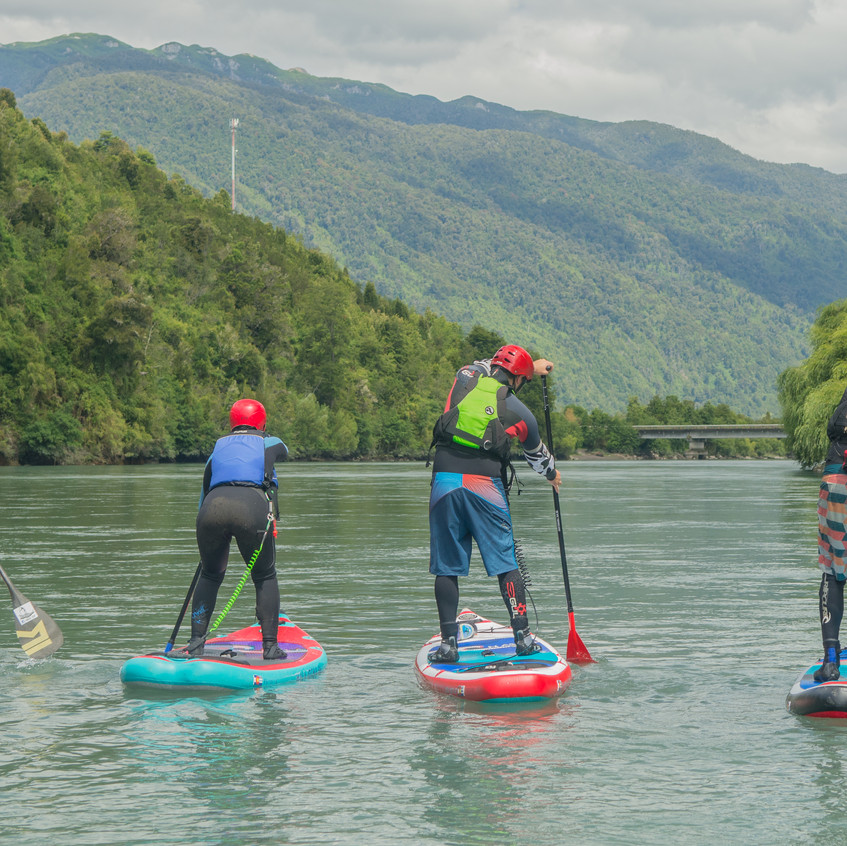 Paddle boarding the Rio Puelo in Patagonia, Chil with Paul Clark SUPPAUL and ViveSUPExpeditions