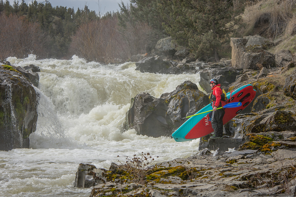 Awbrey Falls. Middle Deschutes river white water paddle boarding