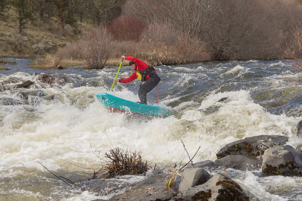 Honey Pot rapids on the Middle Deschutes. Paul Clark whitewater paddle boarding.