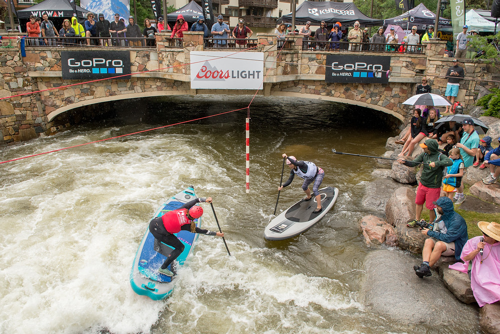 Womens Finals of the SUP-Cross race at GoPro Mountain Games featuring the winner Cami Swan and Rebecca Giddens