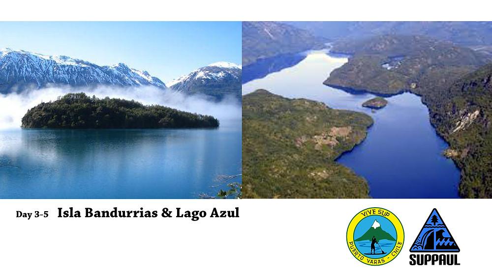 Isla Bandurrias Lago Azul paddle boarding