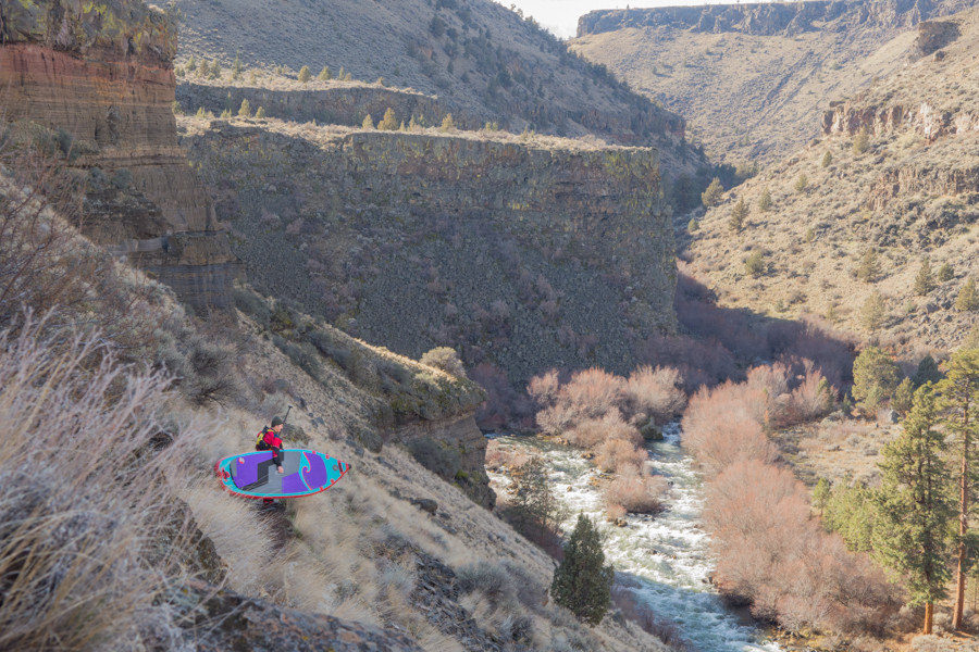 Paul Clark, adventure paddle boarder on the Middle Deschutes in Central Oregon