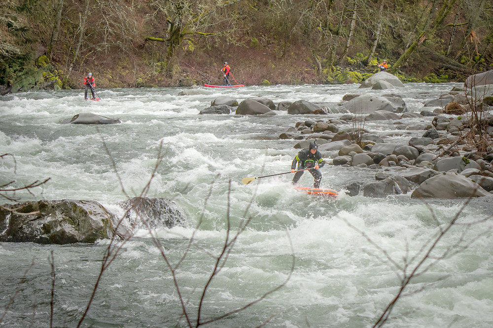 Tim Thorton leads stand up paddle boarders through rapids on the Hood River