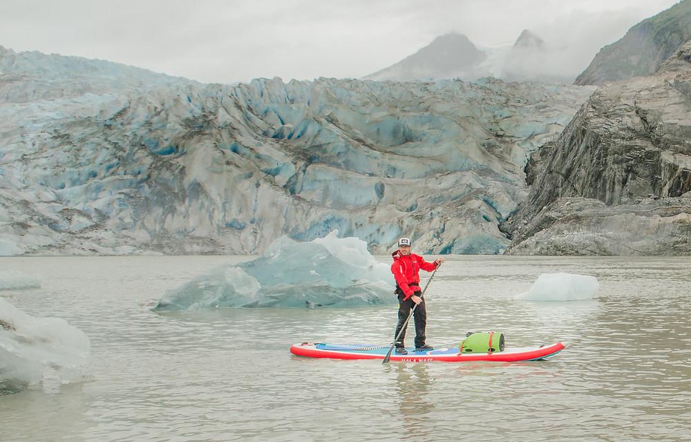 Paddle boarding near the Mendehall Glacier, Alaska. Paul Clark SUPPAUL