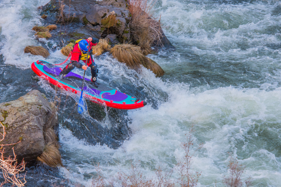 Whitewater SUP with Paul Clark on the Deschutes River near Bend, Oregon