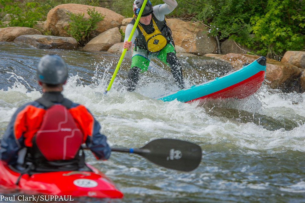 Paul Clark paddle boarding at the Reno Whitewater Festival, 2016. Image, Paul Clark SUPPAUL