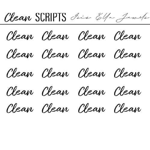 Clean Script Stickers