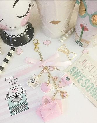 Pink Christmas Charm Set