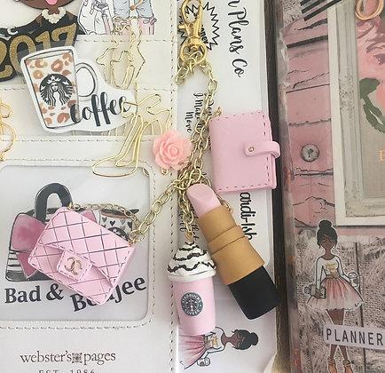 Girly Glam Pink Charm Set