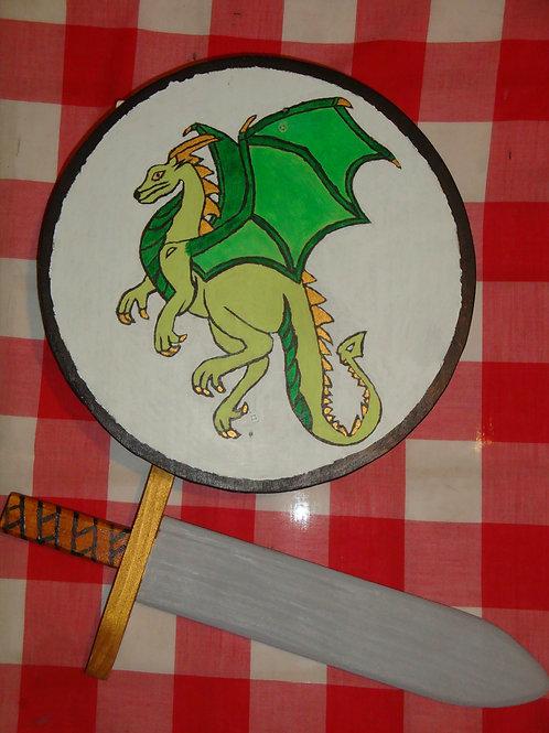 """Bouclier Rond """"Dragon"""" + Epée"""