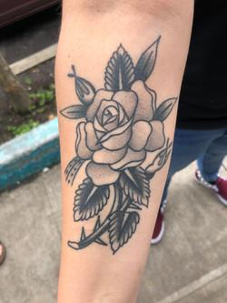 healed black n grey rose