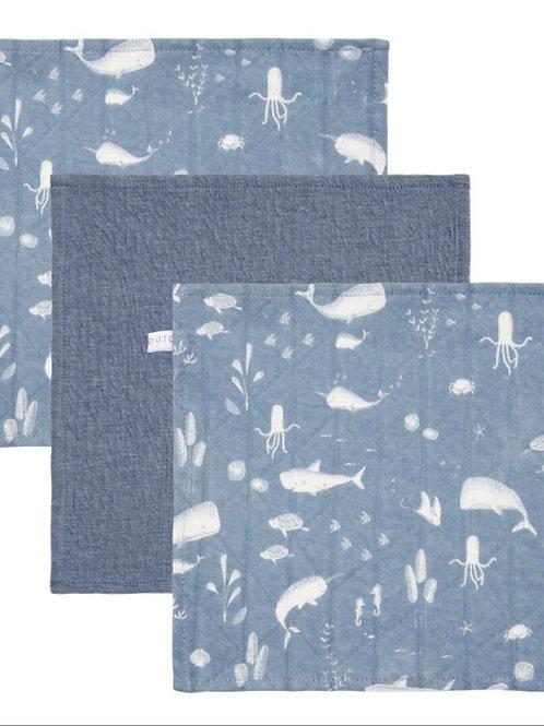 Set de 3 toallitas Azul