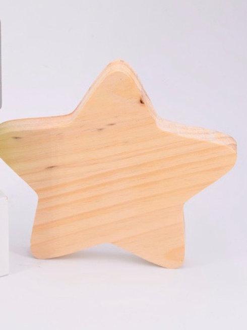 Estrella de madera natural