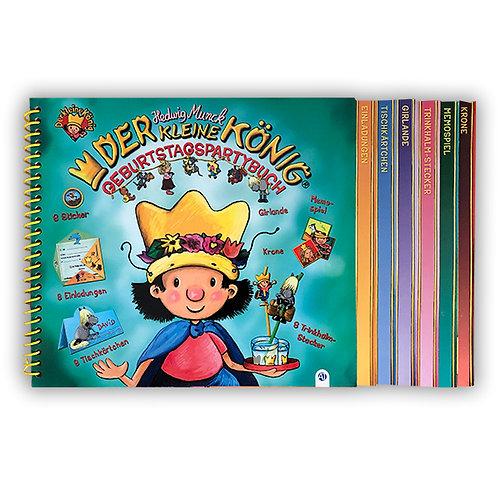 Geburtstagspartybuch vom kleinen König mit Einladungen, Deko, Krone und mehr