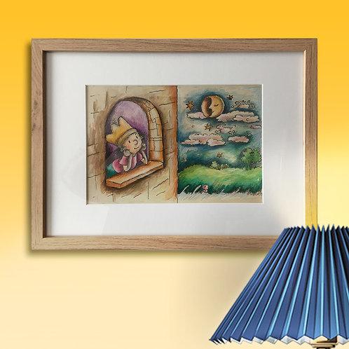 Original,- 43cm x 33 cm, Zeichenfeder, Acryl und Farbstifte mit Rahmen