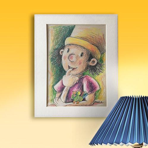 Original, - 28cm x 35cm,Zeichenfeder und dicken Farbstiften mit Rahmen
