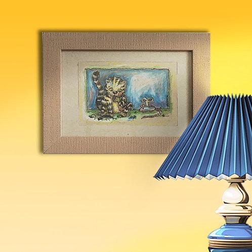 Original,- 16,5 x 21,5 cm, Federzeichung mit Buntstift und Rahmen
