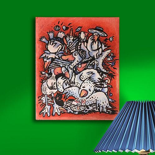 Original, 24cm x 30cm, Acryl und Farbstifte auf Leinwand