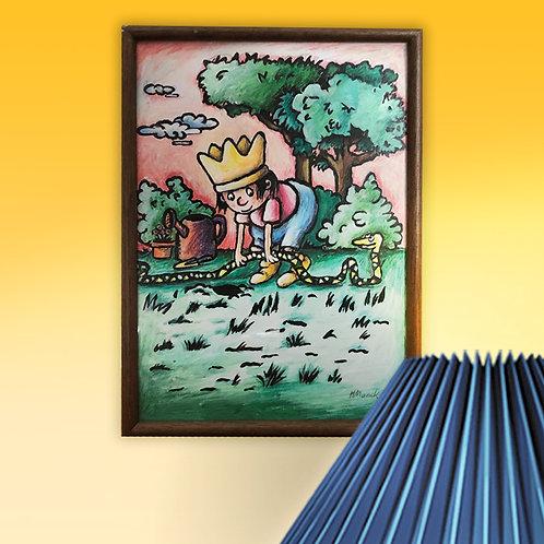 """Original """"Gartenschlange"""", Pinselzeichnung mit Acrylfarben, DINA4"""