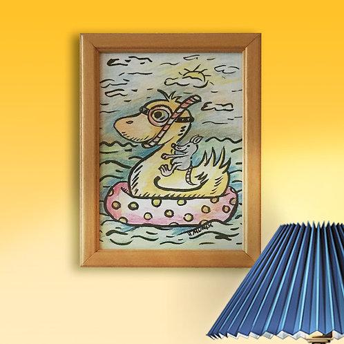 Original, - 13x18 cm, Acryl-Pinselzeichnung mit Buntstift und Rahmen