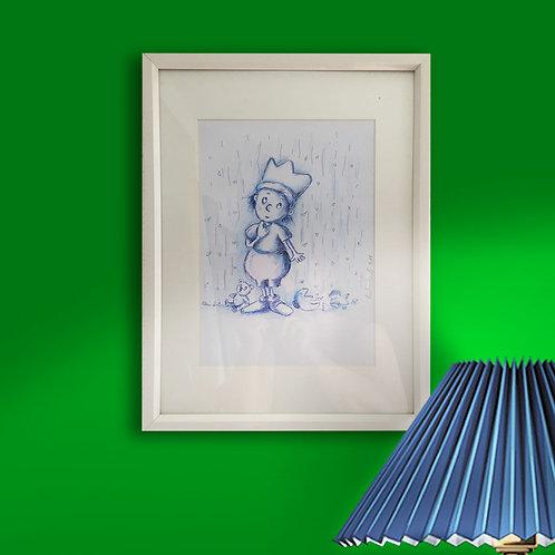 Original, - 41cm x 31cm, Tinte mit blauem Farbstift mit Rahmen