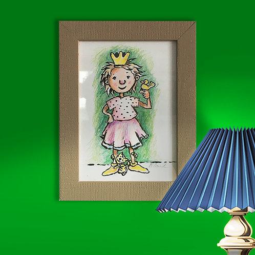 Original, - 16,5 x 21,5 cm, Acryl-Pinselzeichnung mit Buntstift mit Rahmen