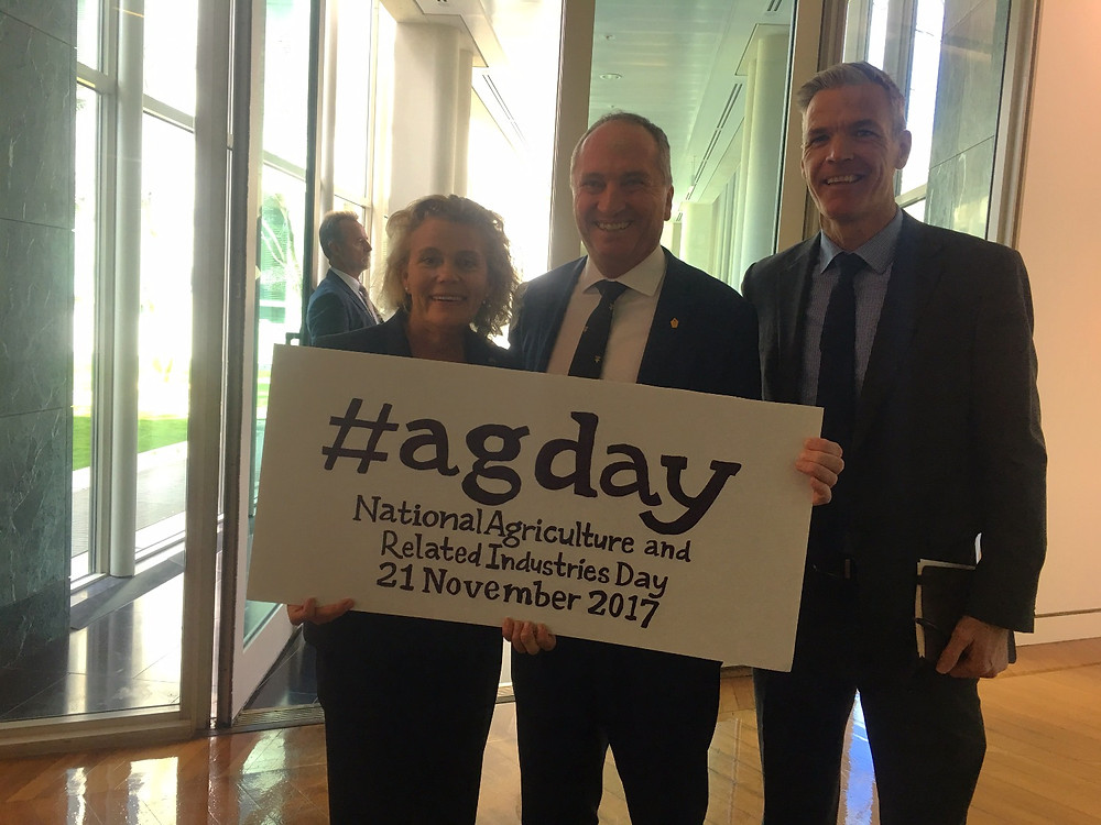 National Farmers' Federation (NFF) President Fiona Simson, Deputy Prime Minister and Minister for Agriculture and Water Resources, Hon Barnaby Joyce MP and NFF Chief Executive Officer, Tony Mahar officially launch National Agriculture and Related Industries Day in Canberra today.