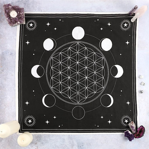(Pre-Order) Moon Phase Crystal Grid Altar Cloth