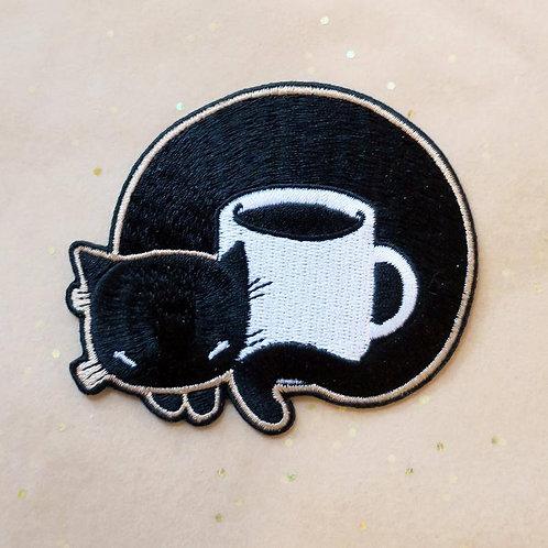 Coffee Cat Embroidered Iron-on Patch